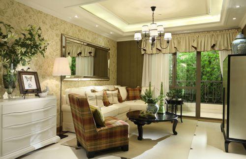 美式田园布艺沙发及客厅窗帘装修效果图