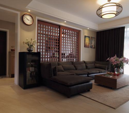 美式简约二居室客厅吧台装修图片