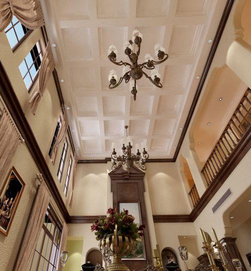 美式田园别墅客厅吊顶装修效果图欣赏