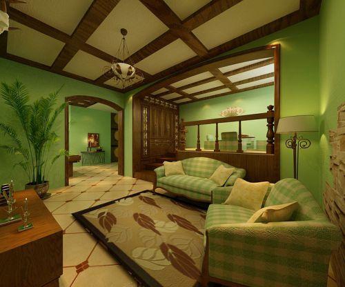 美式客厅绿色沙发效果图