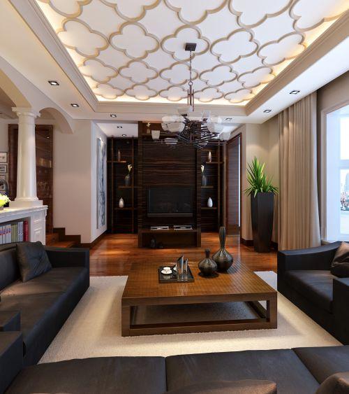 现代美式二居室客厅装修效果图