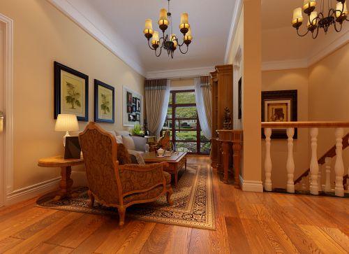 美式乡村风格四居室客厅装修效果图大全