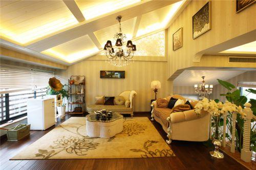 美式风格二居室客厅隔断装修图片