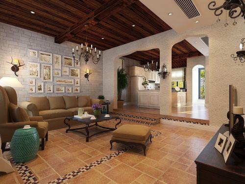 美式风格别墅客厅背景墙装修效果图欣赏