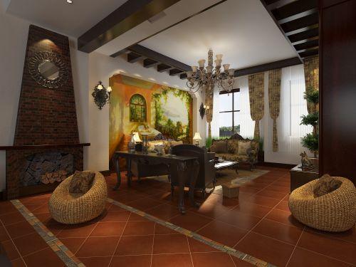 美式风格别墅客厅吊顶装修效果图欣赏