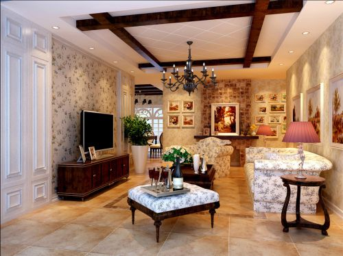 美式田园混搭三居室客厅照片墙装修效果图欣赏