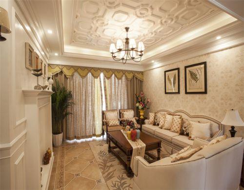 美式风格温馨小客厅沙发背景墙壁纸装修图片