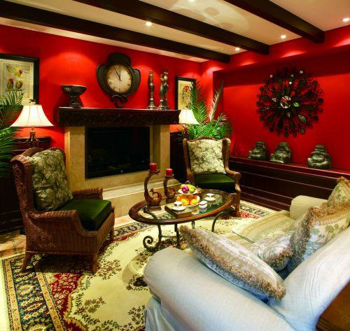 美式风格客厅红色背景墙效果图