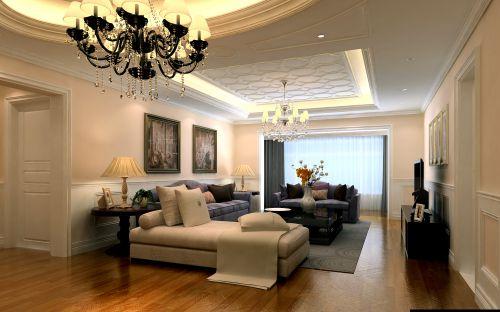 简约美式三居室客厅窗帘装修效果图大全