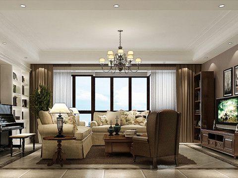 美式三居室客厅装修图片