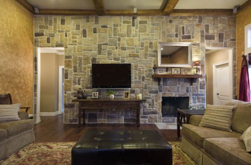 美式乡村客厅石材背景墙效果图