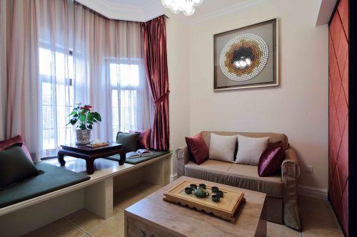 现代美式四居室客厅窗帘装修效果图欣赏