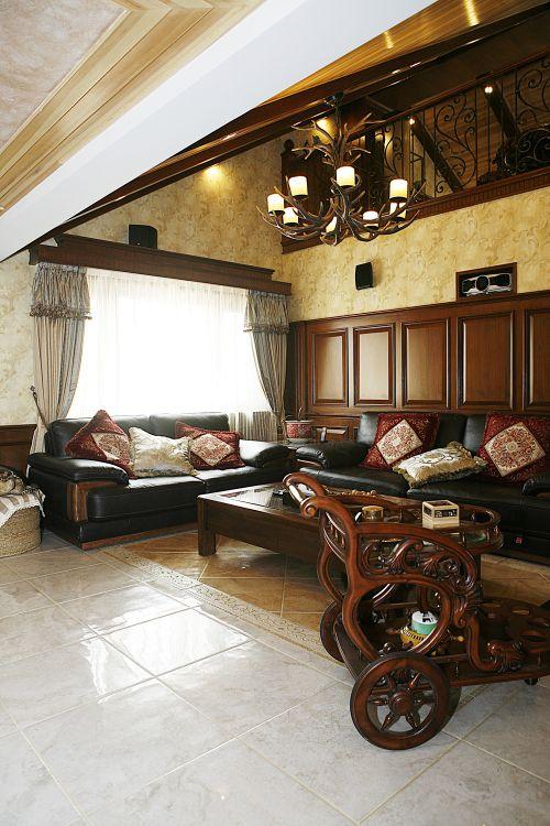 美式风格三居室客厅沙发装修效果图欣赏