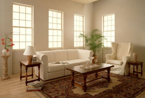 四居室美式客厅白色沙发效果图