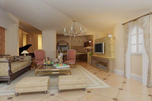 美式风格地下室会客厅装修效果图