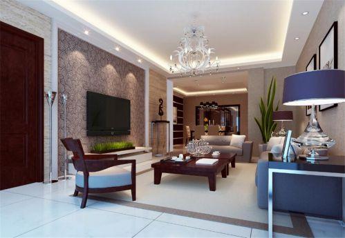 美式风格客厅电视背景墙紫色壁纸装修图片