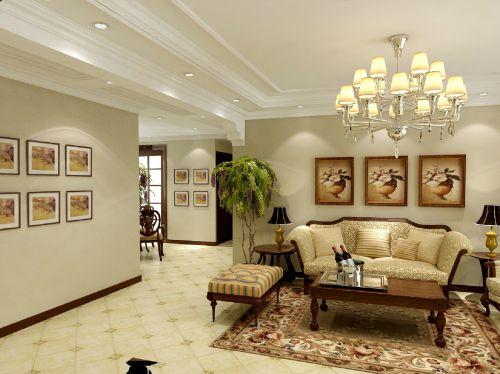美式风格四居室客厅装修效果图大全