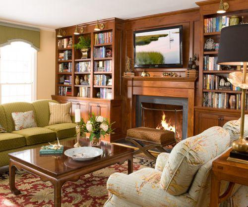 纯美式风格咖啡色客厅装修效果图