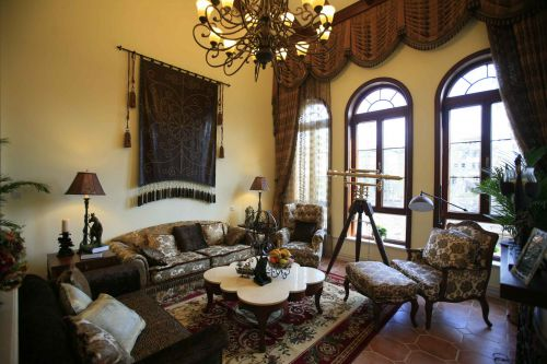 美式风格五居室客厅装修图片