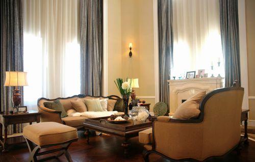 典雅美式四居室客厅窗帘装修效果图