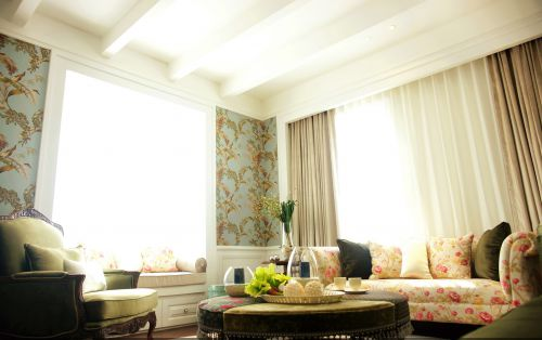 典雅美式四居室客厅装修效果图大全