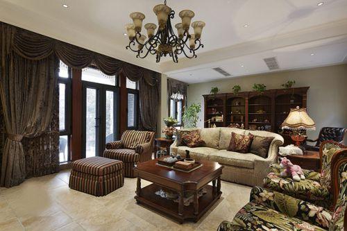 美式风格四居室客厅背景墙装修效果图
