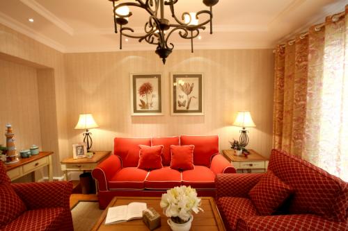 美式乡村风格三居室客厅沙发装修效果图大全