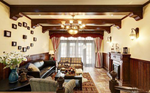 60平米美式风格复式客厅装修实景图