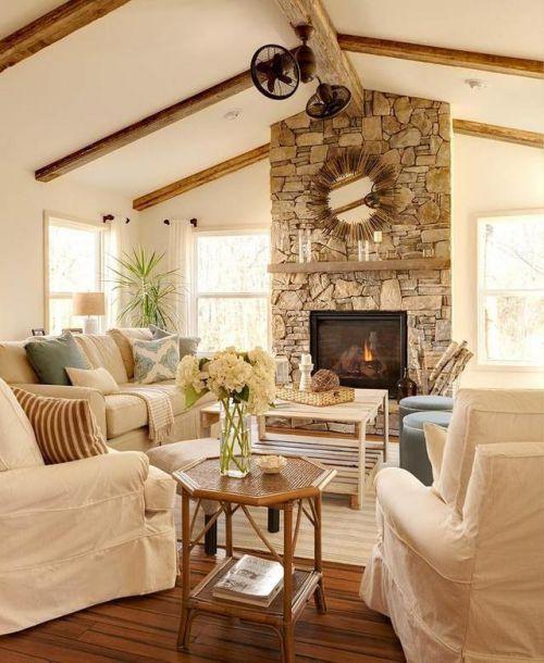 美式风格客厅原木色木质茶几装修实景图