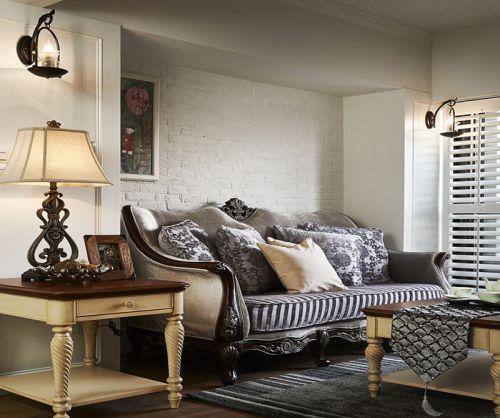 咖啡色大气美式风格客厅装修效果图