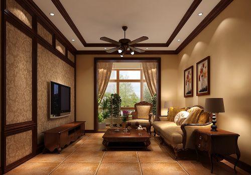 简约美式一居室客厅装修效果图