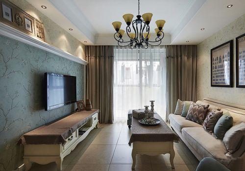 美式田园二居室客厅装修效果图欣赏