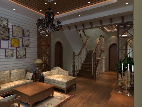 美式乡村六居室以上客厅装修图片