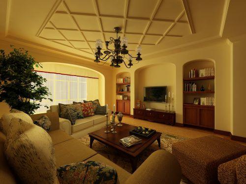 美式田园四居室客厅装修图片