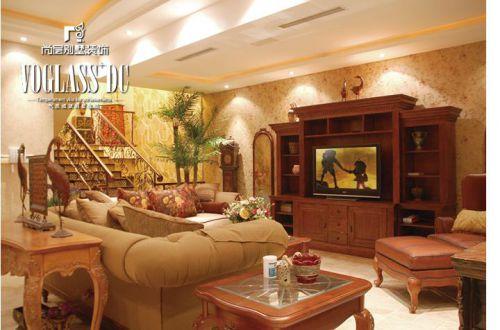 美式乡村六居室客厅装修效果图欣赏