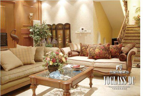 美式乡村六居室客厅装修图片