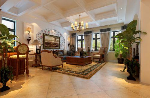 美式乡村风格三居室客厅装修图片欣赏