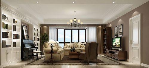简约美式四居室客厅窗帘装修效果图大全