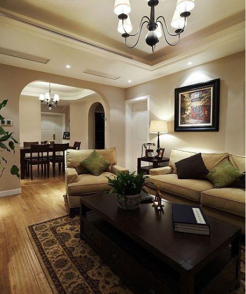 现代美式三居室客厅吊顶装修效果图