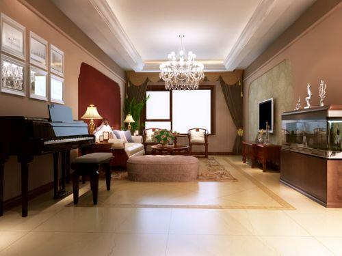 美式风格三居室客厅隔断装修图片