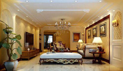 美式三居室客厅装修效果图欣赏