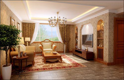 美式经典(元洲装饰)四居室客厅窗帘装修图片
