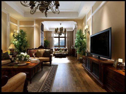 美式风格三居室客厅装修效果图大全