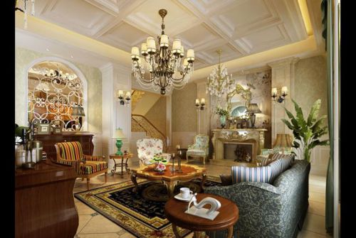 美式风格四居室客厅装修图片