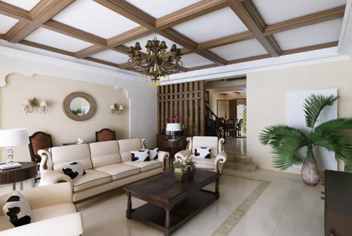 美式风格复式客厅装修图片欣赏