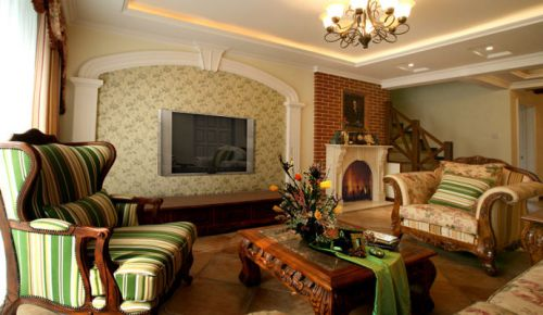 美式乡村别墅客厅装修图片欣赏