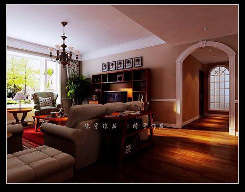 美式田园三居室客厅装修图片
