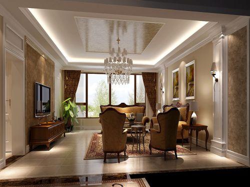 美式四居室客厅装修图片