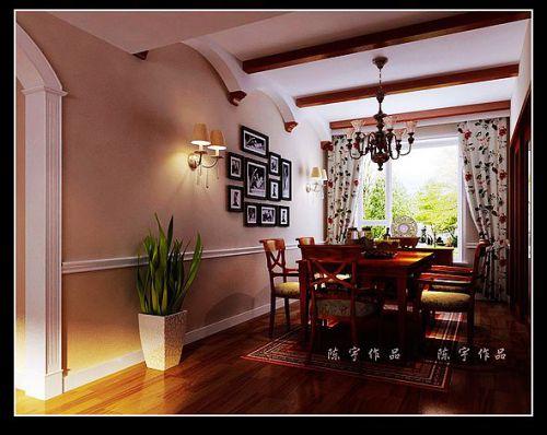美式田园三居室客厅装修效果图欣赏