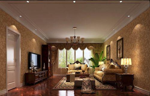 简约美式三居室客厅吊顶装修效果图